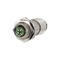M12 jack, 8 pole, X coded with flange